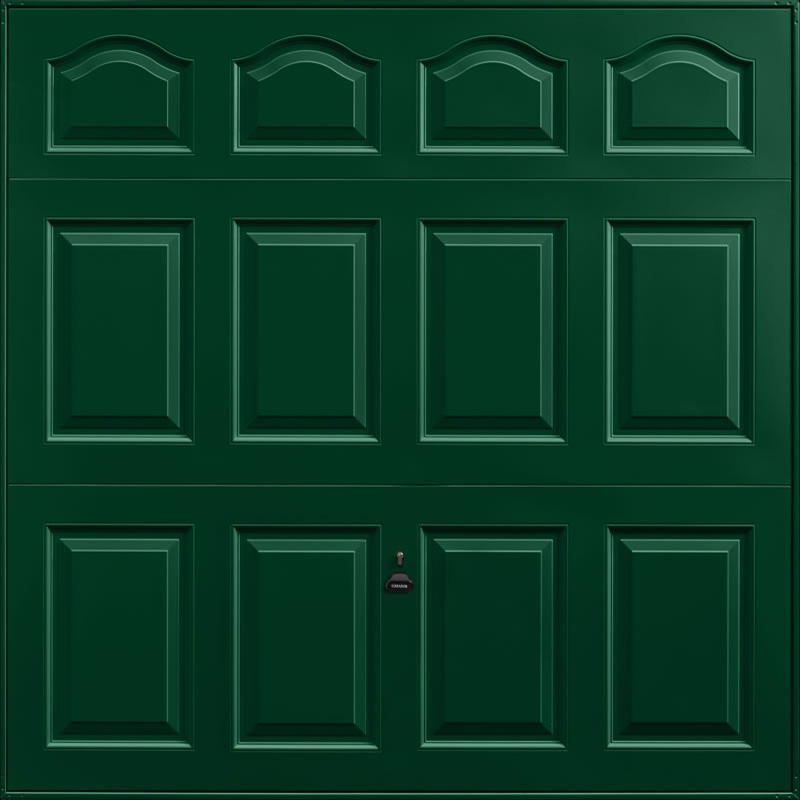 Cathedral Fir Green Garage Door