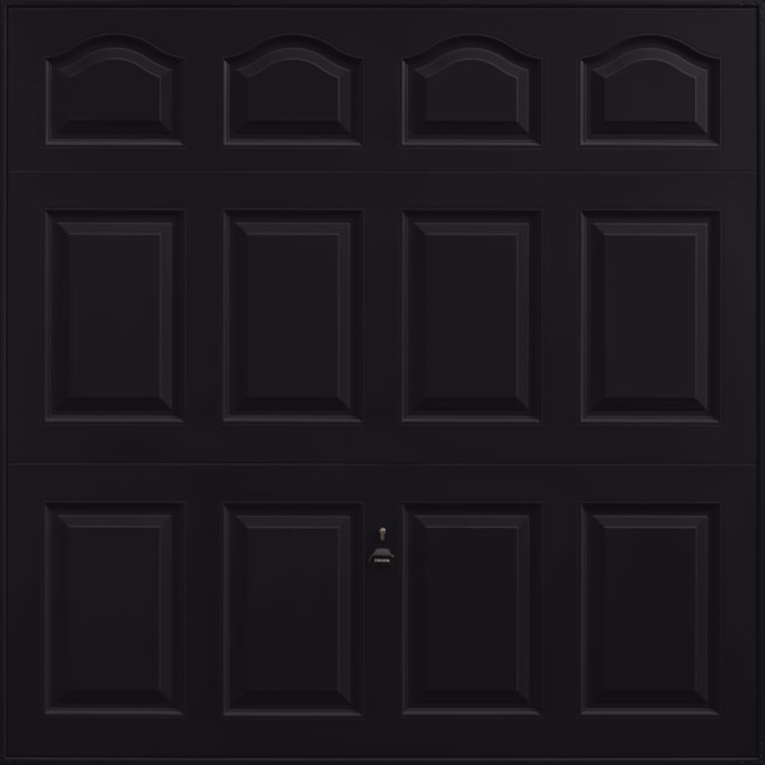 Cathedral Jet Black Garage Door