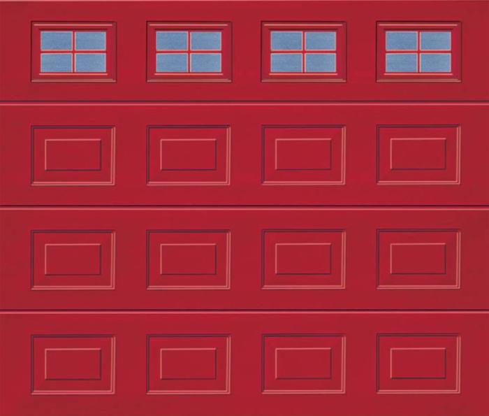 Georgian Windows Red Sectional Garage Door