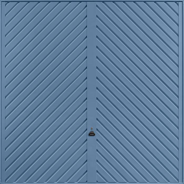 Chevron Pigeon Blue Garage Door