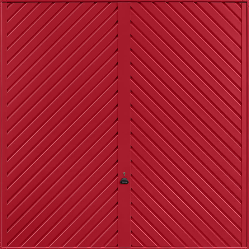 Chevron Ruby Red Garage Door
