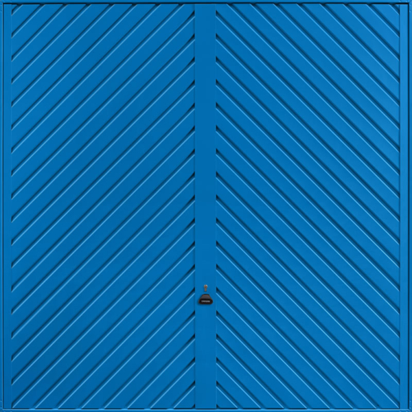 Chevron Signal Blue Garage Door
