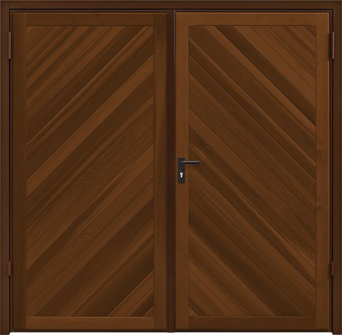 Chevron Cedar Antique Oak Side Hinged Garage Door