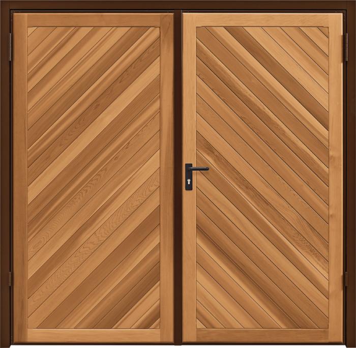 Chevron Cedar Light Oak Side Hinged Garage Door