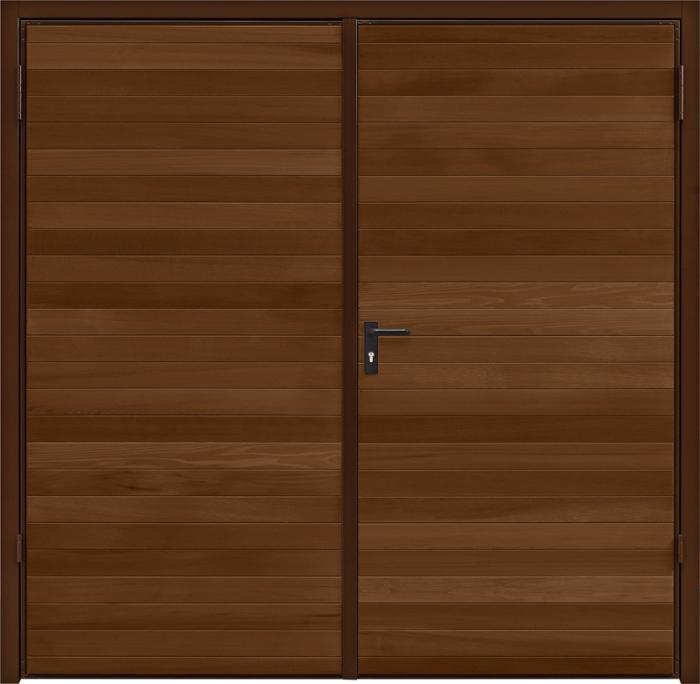 Horizontal Cedar Antique Oak Side Hinged Garage Door