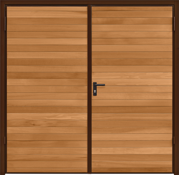 Horizontal Cedar Light Oak Side Hinged Garage Door