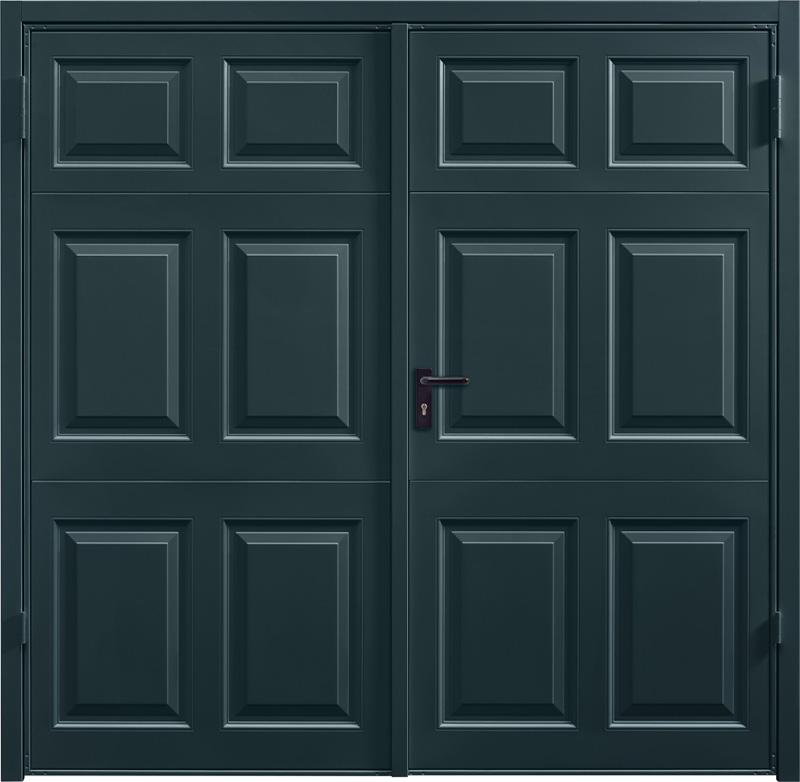 Beaumont Anthracite Grey Beaumont White Aluminium Side Hinged Garage Door