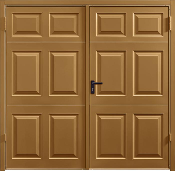 Beaumont Golden Oak Solid Side Hinged Garage Door