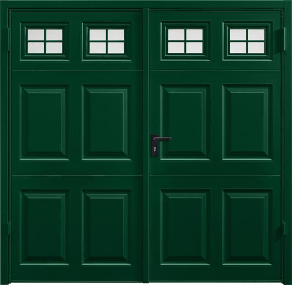 Beaumont Window Fir Green Side Hinged Garage Door