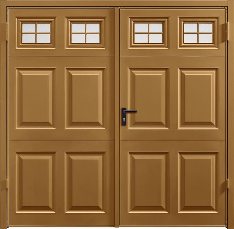 Beaumont Window Golden Oak Solid Side Hinged Garage Door