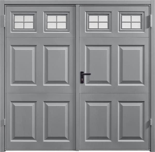 Beaumont Window Grey AluminiumSide Hinged Garage Door