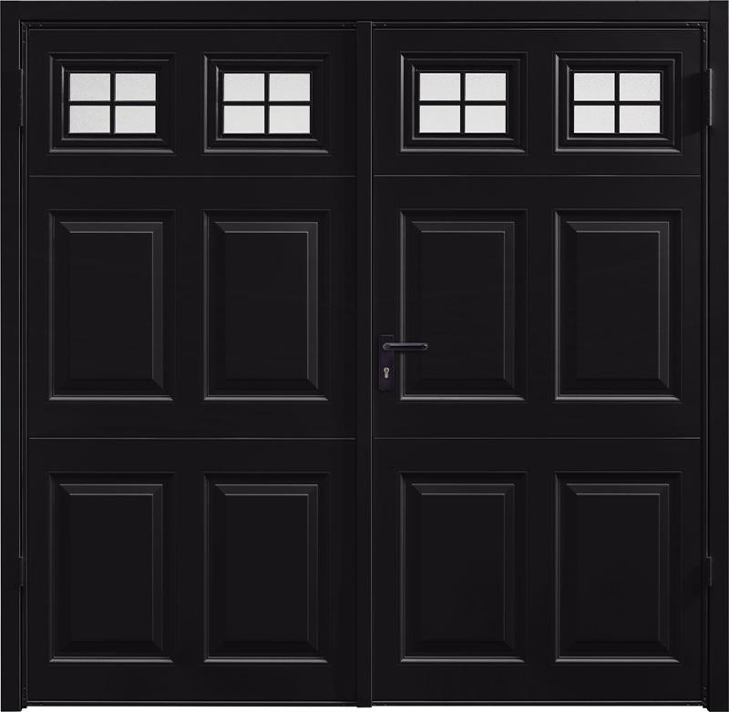 Beaumont Window Jet Black Side Hinged Garage Door
