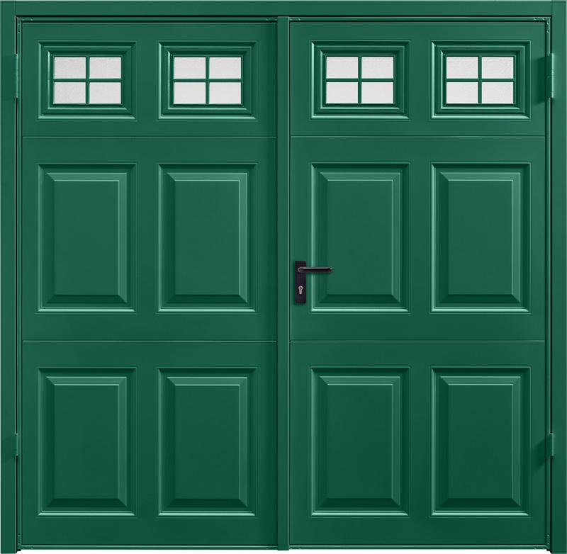 Beaumont Window Moss Green Side Hinged Garage Door