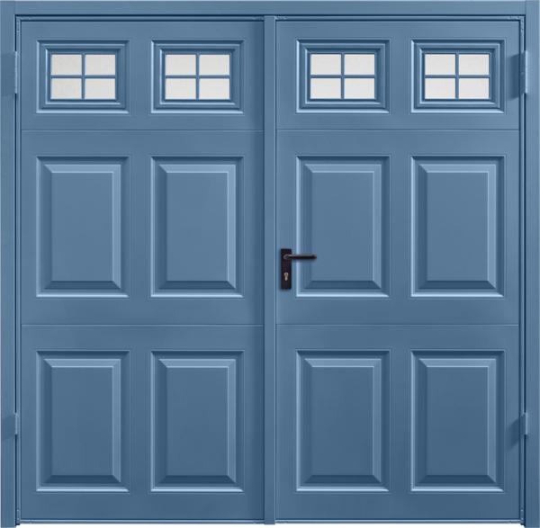 Beaumont Window Pigeon Blue Side Hinged Garage Door