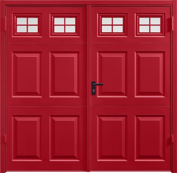 Beaumont Window Ruby RedSide Hinged Garage Door
