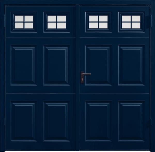 Beaumont Window Steel Blue Side Hinged Garage Door
