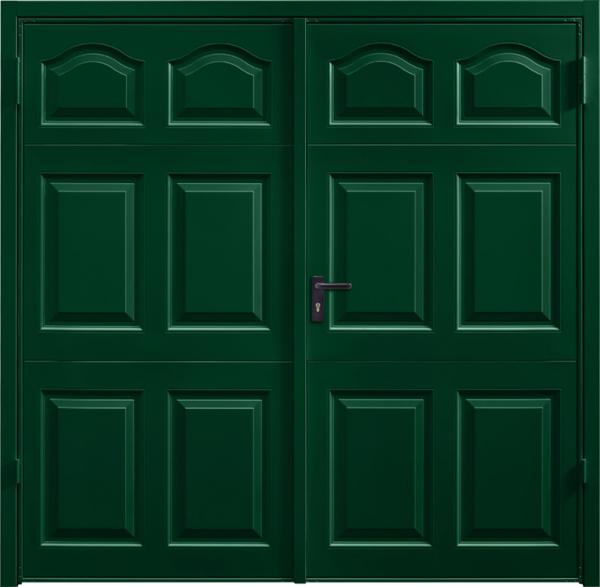 Cathedral Fir Green Side Hinged Garage Door