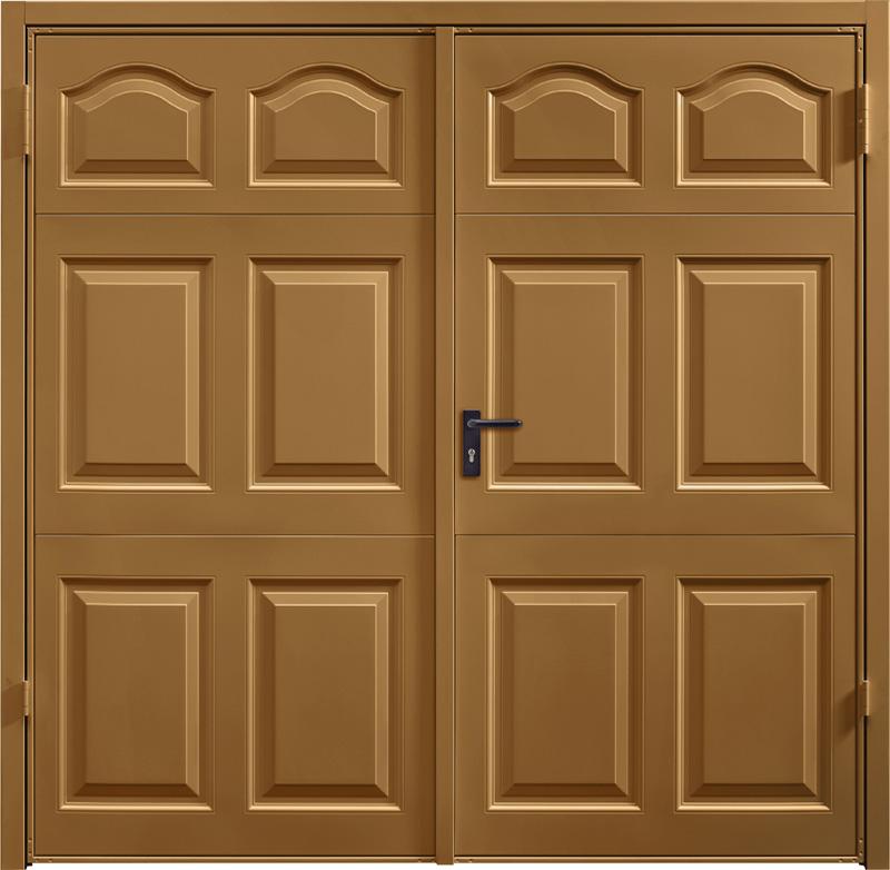 Cathedral Golden Oak Solid Cathedral Fir Green Side Hinged Garage Door