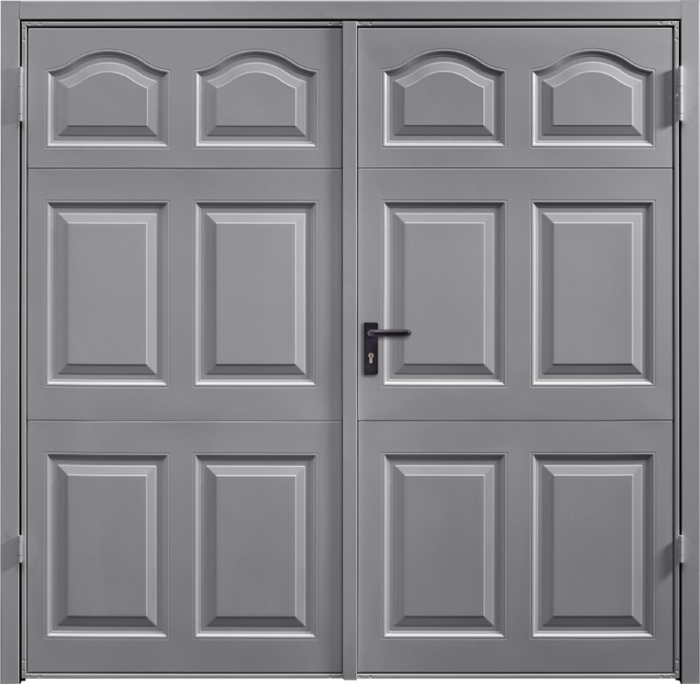 Cathedral Grey Aluminium Cathedral Golden Oak Solid Cathedral Fir Green Side Hinged Garage Door