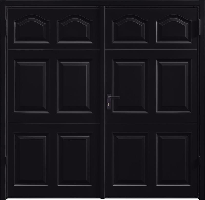 Cathedral Jet Black Side Hinged Garage Door