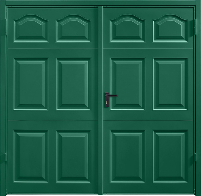 Cathedral Moss Green Side Hinged Garage Door