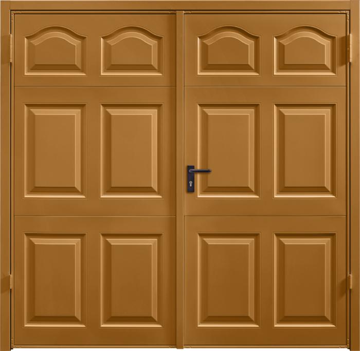 Cathedral Ochre Brown Side Hinged Garage Door