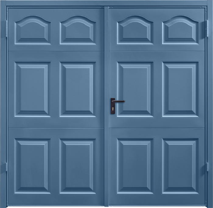Cathedral Pigeon Blue Side Hinged Garage Door