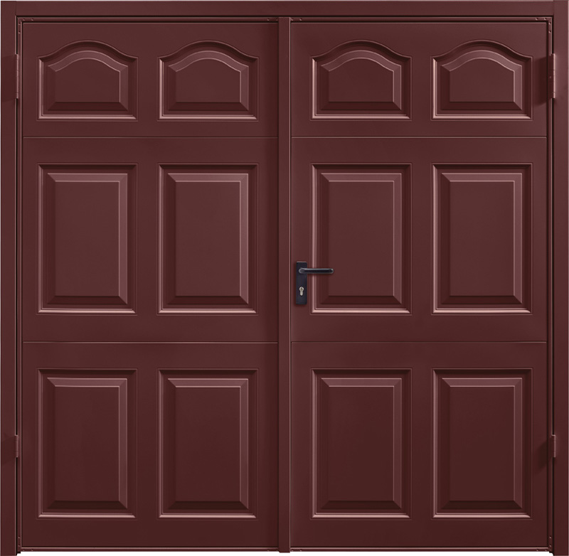 Cathedral Rosewood Solid Side Hinged Garage Door