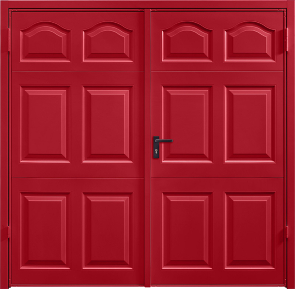 Cathedral Ruby Red Side Hinged Garage Door