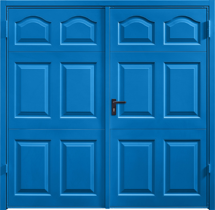 Cathedral Signal Blue Cathedral Ruby Red Side Hinged Garage Door