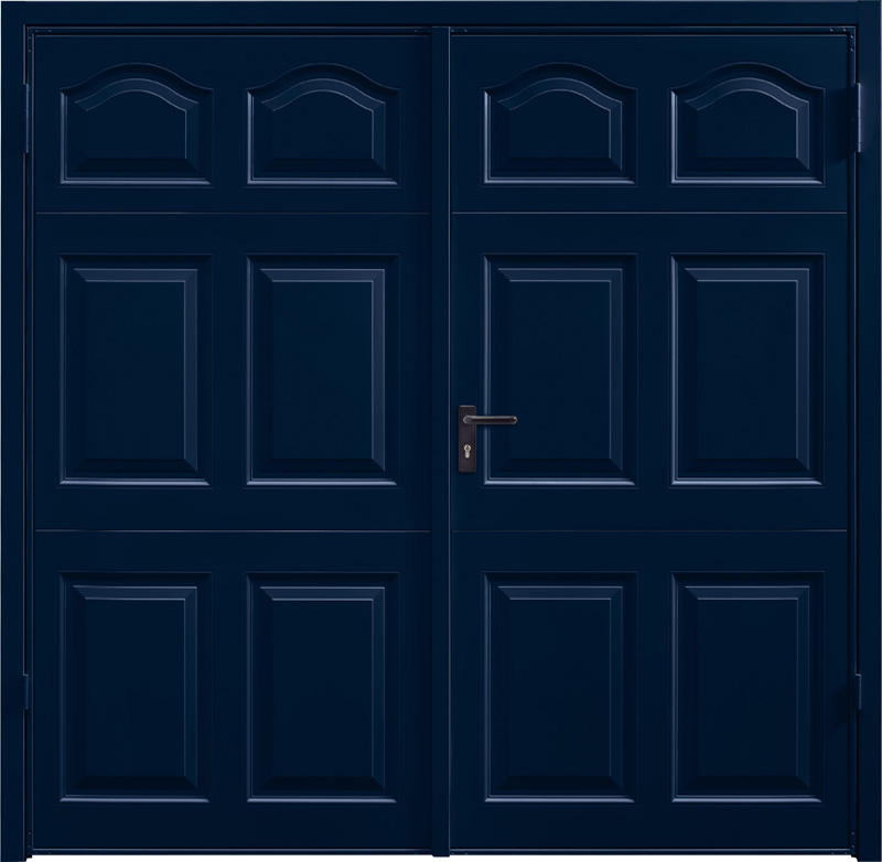 Cathedral Steel Blue Side Hinged Garage Door