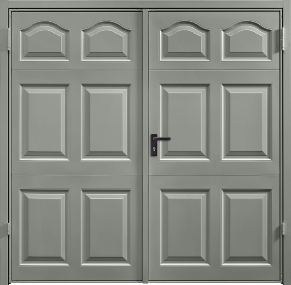 Cathedral Stone Grey Cathedral Steel Blue Side Hinged Garage Door