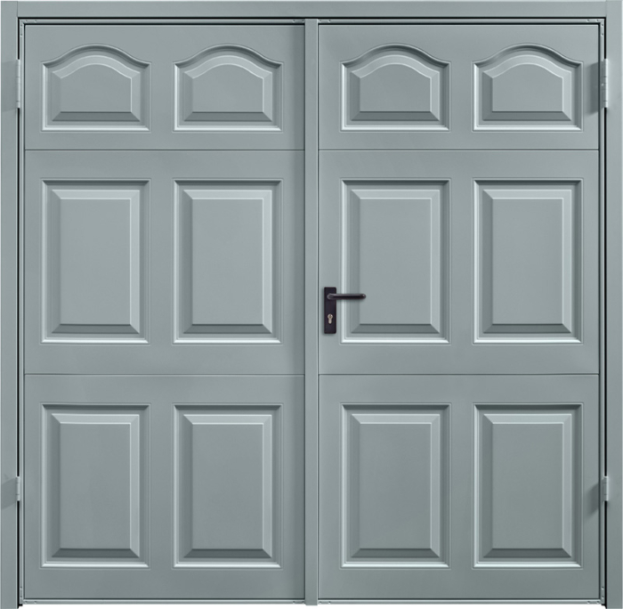 Cathedral Window Grey Side Hinged Garage Door