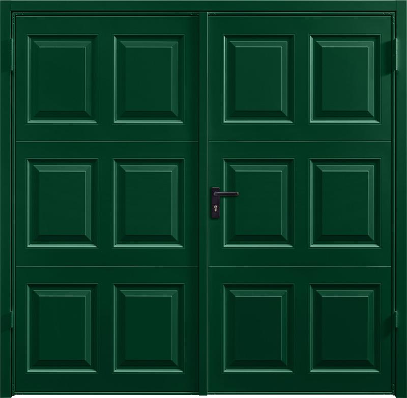 Georgian Fir Green Side Hinged Garage Door