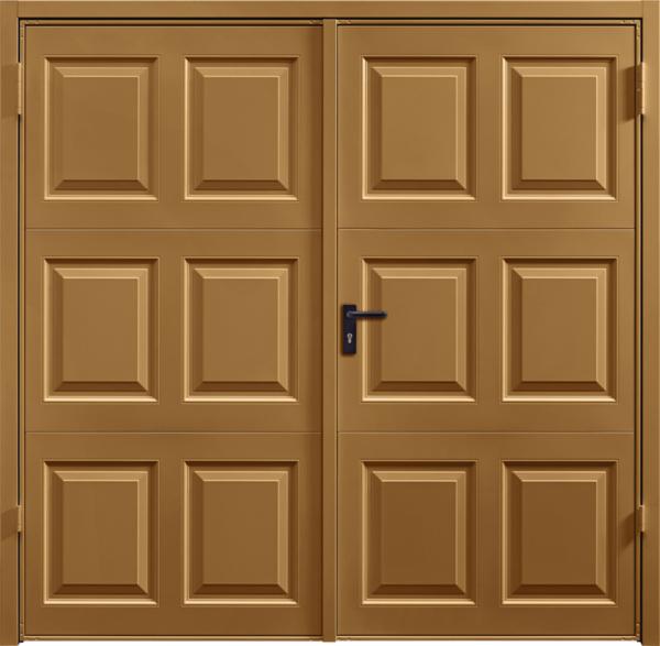 Georgian Golden Oak Solid Side Hinged Garage Door