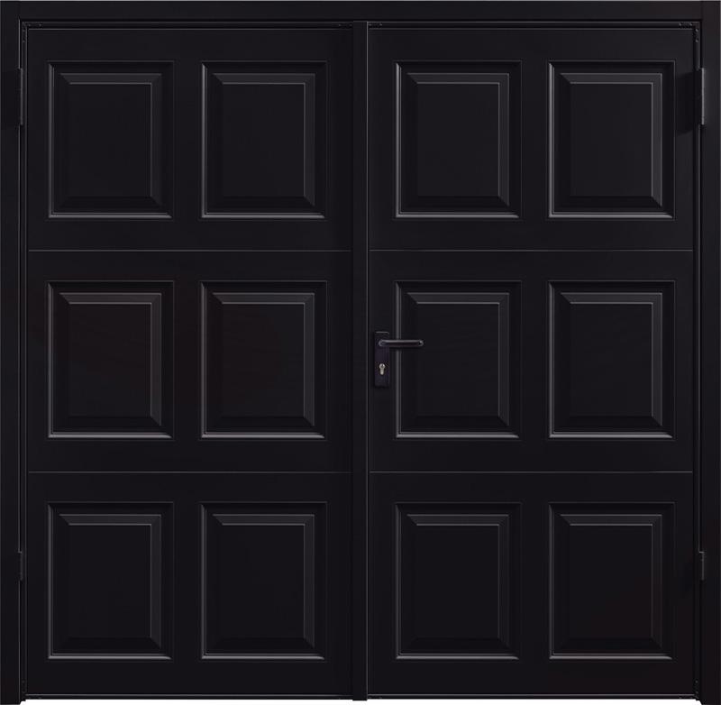Georgian Jet Black Side Hinged Garage Door