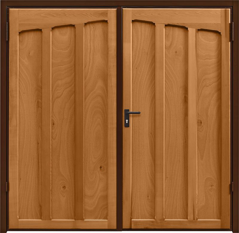Tudor Light Oak Side Hinged Garage Door