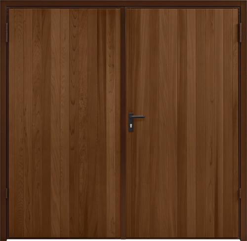 Vertical Cedar Antique Oak Side Hinged Garage Door
