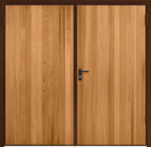 Vertical Cedar Light Oak Side Hinged Garage Door