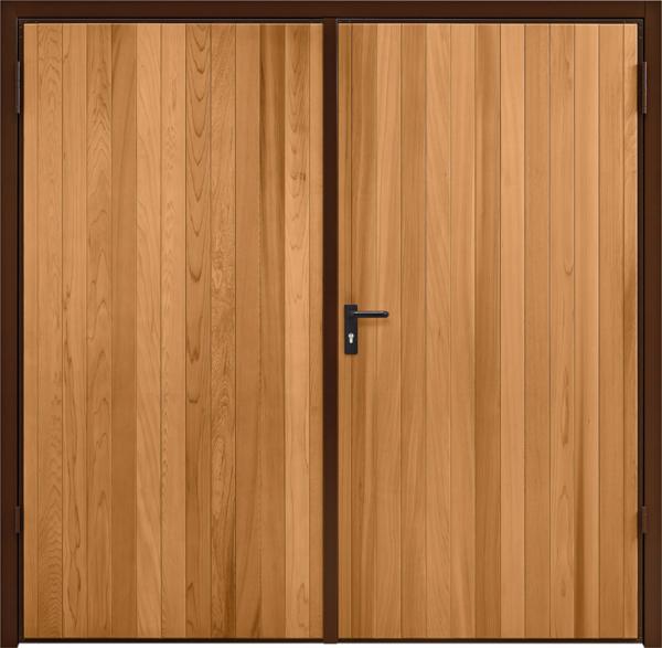 Vertical Cedar Light Oak Side Hinged Garage Door